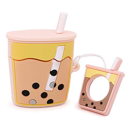 ZHYLIN Airpods Case Cover Leuke Bubble Thee Drank Vorm Case, Zachte Siliconen Fall Proof Cover Voor Airpods 1&2 Case, Airpods Accessoires, Paar Gift, airpods, roze