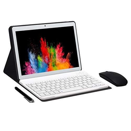 JANWIL Tableta Android 9.0 Touch 10' Quad Core RAM 4GB ROM 64GB 8000mAh Batería Cámara 5MP 8MP Wifi GPS Tipo C Dual SIM Lamada 3G Tablet (White)
