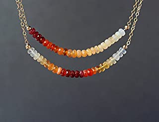 Fire Opal Necklace, Mexican Fire OPal, October Birthstone, Gemstone Beaded Dainty Necklace, Bar Necklace, Ombre Necklace 3.5 mm