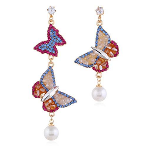 N\A Pendiente Colgante de Mariposa de Cristal Diamante Pendientes de caída Largos Colgantes de...