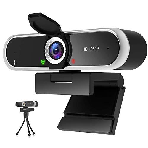 Webcam 1080P mit Mikrofon und Webcam Abdeckung, Stativ, Plug & Play, mit automatischer Lichtkorrektur, für Laptop, PC, Desktop, für Live-Streaming, Videoanruf, Konferenz, Online-Unterricht, Spiel