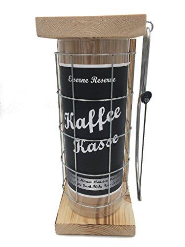 Kaffeekasse Eiserne Reserve Spardose incl. Säge zum zersägen des Gitter, Geldgeschenk, das andere Sparschwein, witzige Sparbüchse, Geschenkidee