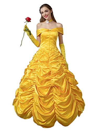 CosFantasy Princess Belle Cosplay Costume Ball Gown Fancy Dress mp002019 (Small) Golden