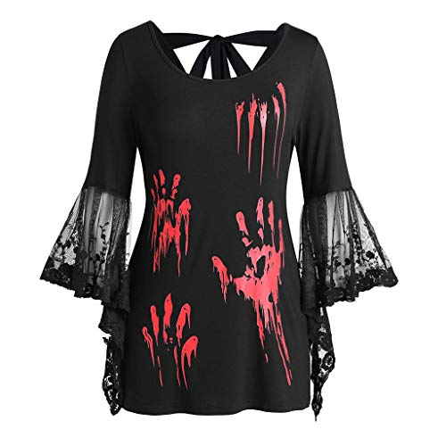 GOKOMO Halloween Top Spitze Schwarz Damen Langarm Top-GeöFfnete ZurüCk Geknotete Backless HüLse DüNne T-Shirt Blut Handabdruck(Schwarz,XXX-Large)