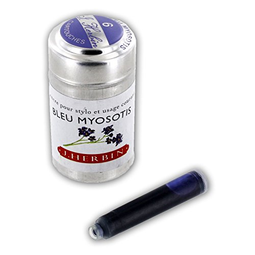 J. Herbin La Perle des Encres Fountain Pen Ink Cartridges, Pack of 6 (Bleu Myosotis)