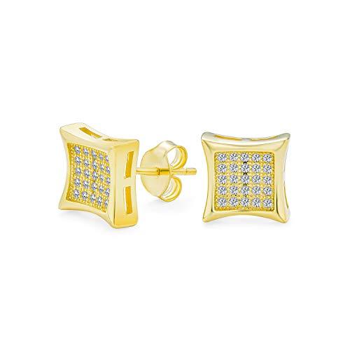 En forma cuadrada cúbica Zirconia Micro Pave CZ Kite Stud Pendientes para hombre 14K oro chapado 925 plata de ley 7MM