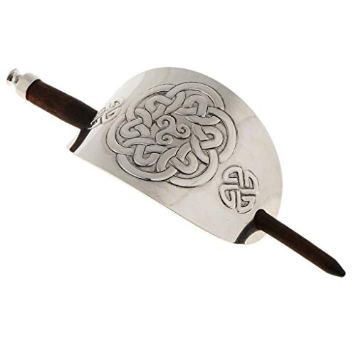 LoveinDIY Silver Metal Bun Ponytail Holder Cover Wooden Hair Stick Clip Pin Accessory - 09