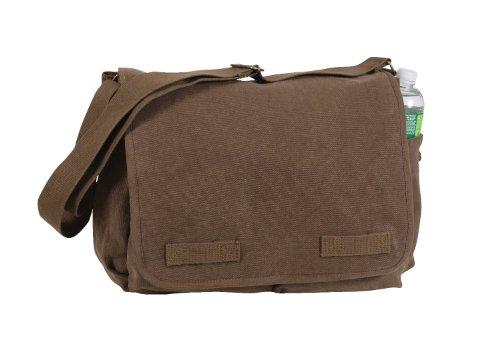 Rothco Vintage Washed Canvas Messenger Bag, Brown