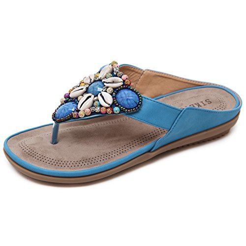 Mine Tom Minetom Chanclas de Mujer Sandalias Mujeres Moda Verano Plano Mocasines Bohemia Clip Toe Dulce Sandalias Casuales Zapatos de Playa Sandalias Romanas Azul EU 38