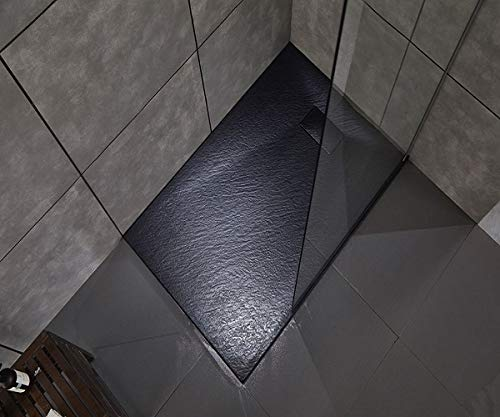 Piatto doccia effetto pietra in resina struttura a nido d'ape riducibile con piletta di scarico (90 x 70, Nero Antracite)