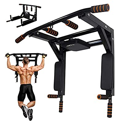NAIZEA Multi-Gym Wall Mounted Chin-Up/Pull-Up Bar and Dip Station, Heavy Duty Doorway Trainer Supports to 600 Lbs, Power Tower Exercise Strength Training Equipment for Home Gym Workout (Black)