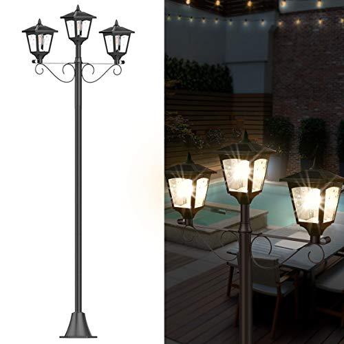 72' Solar Lamp Post Lights Outdoor, Triple-Head Street Vintage Solar Lamp Outdoor, Solar Post Light for Garden, Lawn, Planter Not Included