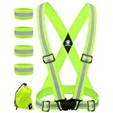 Reflective Vest with Reflective Bands - Reflective Running Gear for Men and Women for Night Running, Biking, Walking. Reflective Running Vest, Safety Straps, Reflector Strips (Green Vest + 4 Bands)