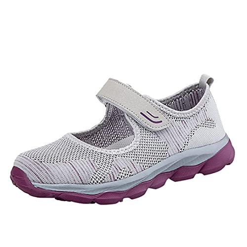 Loafers Bleu Nu-Pieds Baskets Mode été Basket Velcro Soirée Ville Décontracté Tendance Thème Chaussures Plates Femme Mules with Heels Open Toe Quilted(Gris,38)
