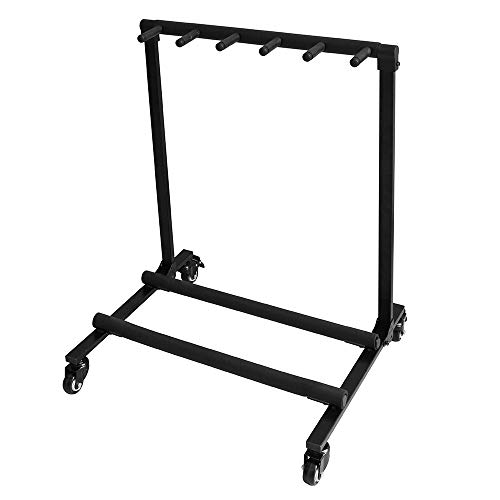 Multi Guitar Stand 5 Holder Flatsons Guitar Stand Foldable Guitar Folding Stand Rack with Wheel for Bass Acoustic Guitar, Black