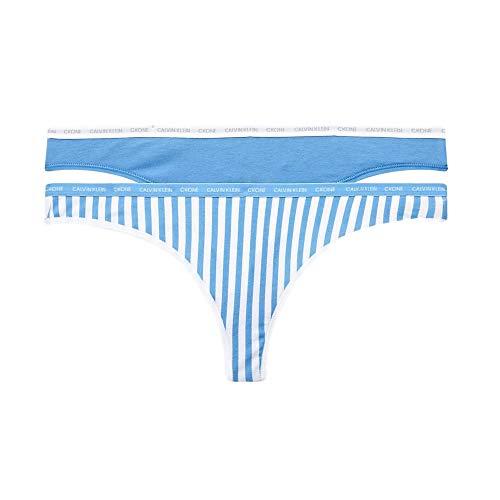 Calvin Klein 2 Pack Ck Eine Baumwolle Tanga - Azurblau/Marching Streifen X Large