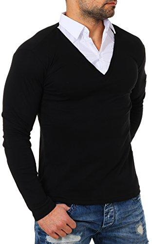 ReRock Herren 2in1 Longsleeve Hemd Kragen Shirt Pullover Langarm mit tiefem V-Ausschnitt einfarbig Slimfit Stretch, Grösse:XXL, Farbe:Schwarz