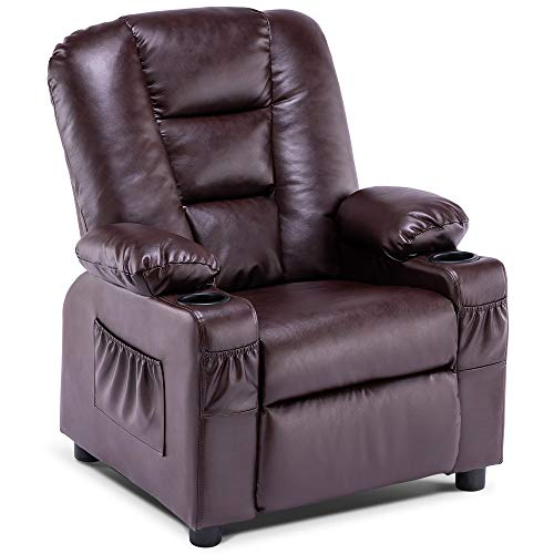 Mcombo Big Kids Recliner Chair with Cup Holders for Toddler Boys and Girls, 2 Side Pockets, 3+ Age Group, Faux Leather 7322 (Dark Brown)
