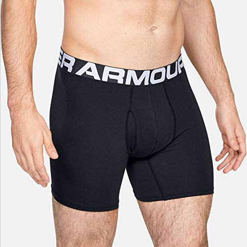 Under Armour Herren schnelltrocknende Boxershorts, 6inch - 3 Pack, Schwarz (Black), Medium
