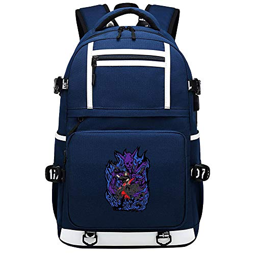 BOBD-DW Naruto Laptop Backpack with Lock,Water Resistant Rucksack with USB Charging Port,Foldable Business/Travel/College Daypack No Word USB Anime Backpack 48X30X15CM
