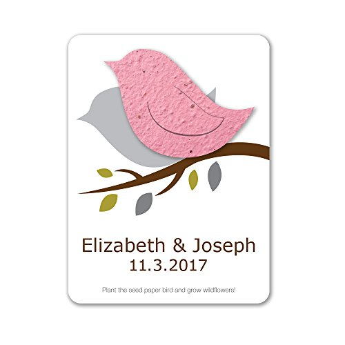 Bloomin Plantable Love Bird Wedding Favor with Seed Paper - Pink (25 Card Set)