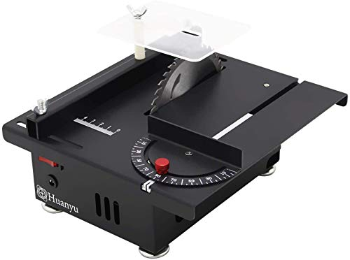 Huanyu Mini Table Saw Thickness 40MM Desktop Speed Adjustable Double Rotation with Dustproof Saw Blade Metal Wood Acrylic (Cutting/Polishing Set)