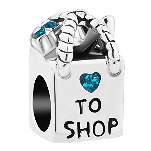 Korliya Love To Shop - Charm per braccialetto e Rame, colore: Azzurro, cod. EMW_DPC_MY735_X12