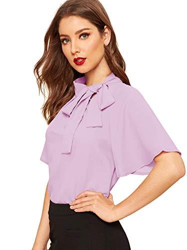 SheIn Women's Casual Side Bow Tie Neck Short Sleeve Blouse Shirt Top Medium Light Purple