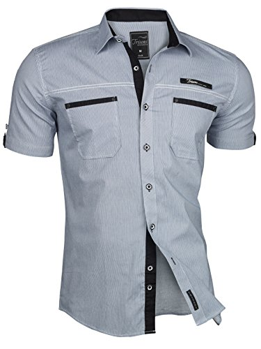 Trisens Herren Hemd Kurzarm Gestreft Slim Fit Sommer Baumwolle Polo Style Cotton, Farbe:Dunkelblau, Größe:XXL