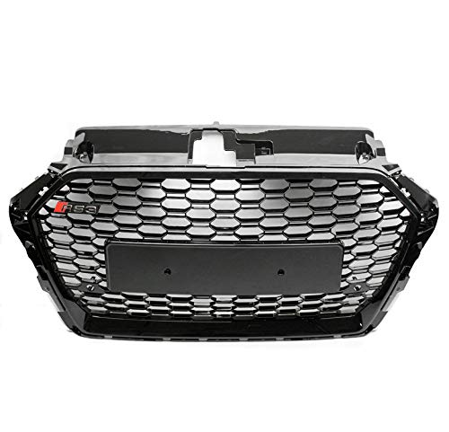 ZMAUTOPARTS For 2017-2018 Audi A3 / S3 8V RS3 Style Honeycomb Mesh Hex Grille Gloss Black