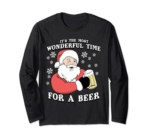 Es el momento más maravilloso para una cerveza | Navidad Manga Larga