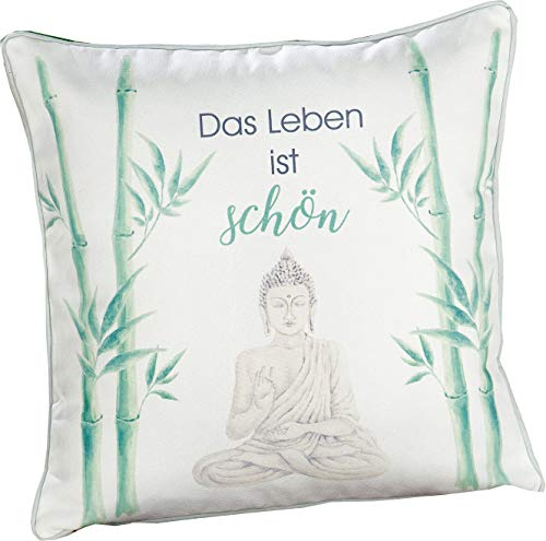 Gilde - Cojín decorativo (45 cm x 45 cm), diseño de Buda, color blanco y verde