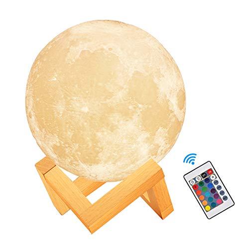 Lámpara de Luna 3D,16 Colores RGB Luz Nocturna Luna LED Lampara Luna - 12cm Remoto Tactil Control USB Intensidad Elegir Luz de Noche Ambiente Lámparas…