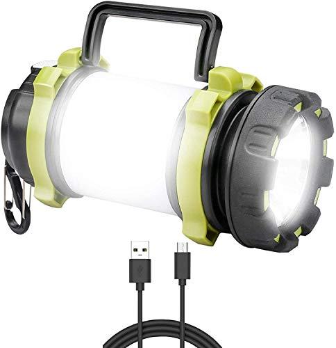 ANNA TOSANI Linterna de Cámping Recargable Antorcha Lámpara 4 Modos de Luces de Trabajo 3000mAh Power Bank Farol de Cámping Resistente al Agua con Cable USB para Senderismo Pesca Emergencia y Más