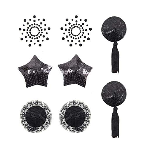 Brustpaste selbstklebend Pasties Pailletten Nippel Cover Aufkleber mit Quaste Dessous Brust Blütenblatt Pasty 4 Styles-schwarz