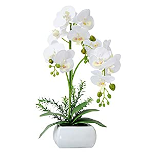 GXLMII Artificial Flowers Orchid with Vase for Kitchen Table Centerpiece, Faux Orchid Plants Arrangements for Home Decor, Silk Phalaenopsis Fake Orchid White Artificial Flowers with Pot