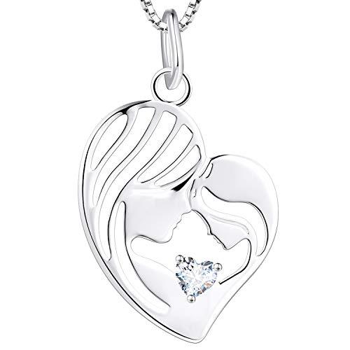 YL Mutter und Tochter Kette 925 Sterling Silber April Geburtsstein Weiß Zirkonia Herz Anhänger Halskette Geschenke für Mama Damen, 45-48 CM