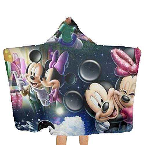 HACVREQ Toalla de baño con capucha para adultos Mickey Mouse y Minnie Play Together Toallas de playa de secado rápido para hombres, mujeres, parejas, familiares o amigos regalos
