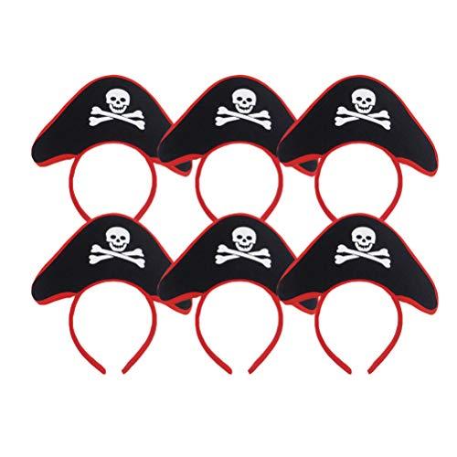 Amosfun 6 unids Pirata Diadema niños niño Pirata Sombrero Diadema Calavera Pirata capitán Traje aro del Pelo para Halloween Masquerade Cosplay Vestuario Accesorios