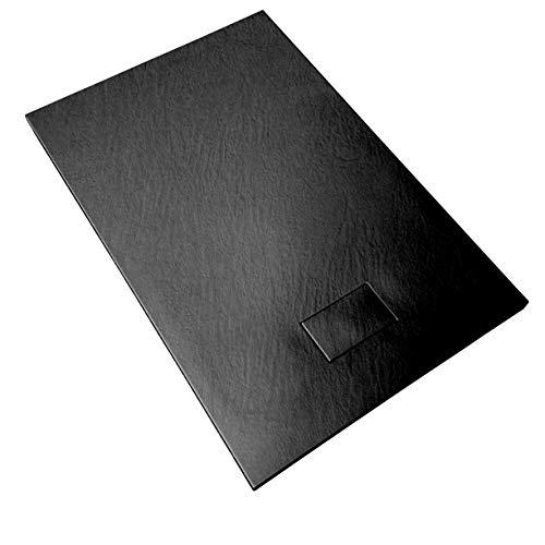 Receveur de douche en verre-résine smc imprimé thermoformé H.2.6 cm effet pierre, drain inclus Bac à Douche 90x120x2,6 cm Noir Anthracite