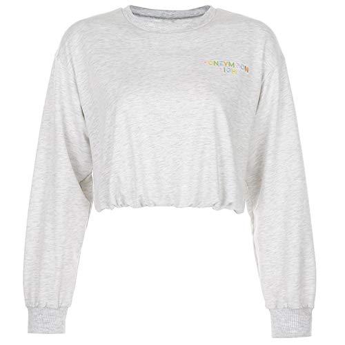 yueyang Damen Langarm-Sweatshirt, Rundhalsausschnitt, bunte Buchstaben, Stickerei, lockeres Crop Top