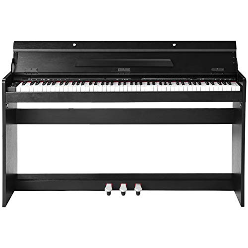 Houssem Digital Piano 88 Key Weighted Hammer Electric Piano Keys for Beginner/Adults with Power Adapter+3-Pedal Board+Instruction Book+Headphone Jack, Black Digital Piano