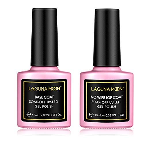 Lagunamoon Gel-nagellak, Soak-Off-Gel-nagellak, UV-LED, 6 stuks, 8 ml base coat and top coat set