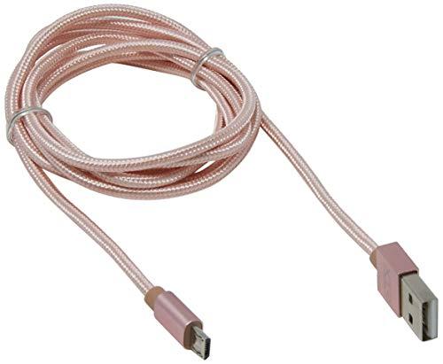 Cabo micro USB 1,5m ponta de alumínio, Xtrax, Rosé gold
