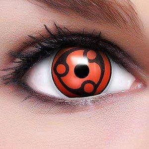 Sharingan Kontaktlinsen Madara in rot inkl. Behälter - Top Linsenfinder Markenqualität, 1Paar (2 Stück)