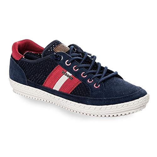 Zapatilla Sneaker Yumas Austria Marino Fabricado en Piel Serraje y Nylon Perforado Plantilla Confort Látex para Hombre