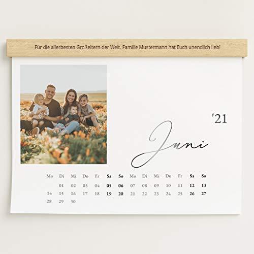 Fotokalender 2021 mit personalisierter Holzblende & Relieflack, Unser Jahr, Wandkalender mit persönlichen Bildern, Kalender für Digitale Fotos, Spiralbindung, DIN A3 Querformat