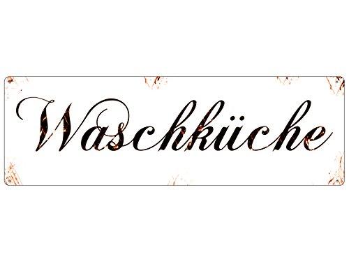 Interluxe Shabby Blechschild METALLSCHILD Türschild WASCHKÜCHE Vintage Geschenk Waschraum