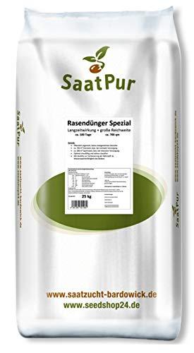 SaatPur Rasendünger Spezial 25 kg, 700 m² 11+3+5(+2)+0,1 Eisen, Startdünger, sofort und langzeit Wirkung, Granulat, pflanzlich organisch-mineralisch