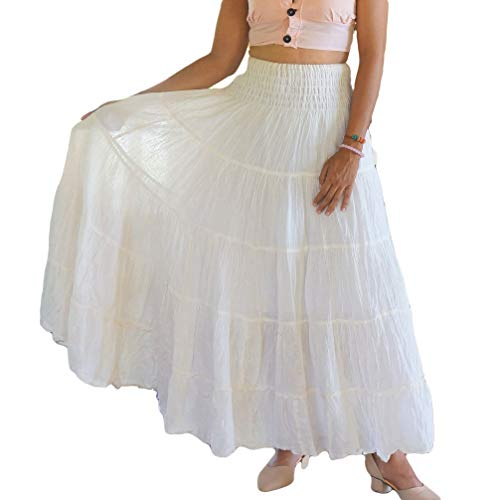 White Boho Gypsy Skirts for Women Long Tiered Cotton Full Flared Plain Solid Colors